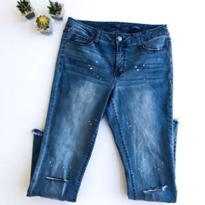 Kaari Blue Paint Splatter Knee Slit Jeans